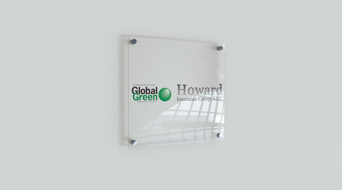 Global Green and Howard Insurance Group logo printed on wall